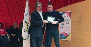 Vincenzo Ottaviani premiato dal Coni dell'Aquila per i risultati conseguiti nel 2018