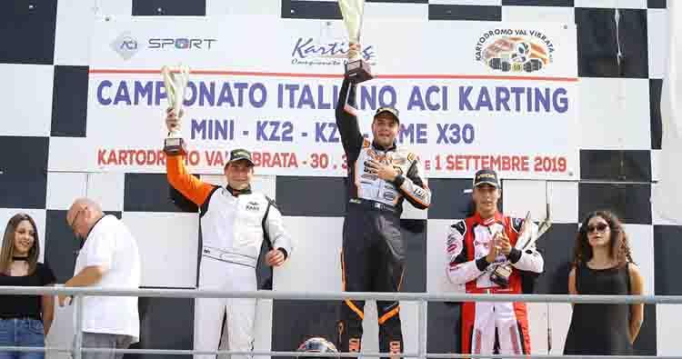 Cunati in KZ2 e Villa nella X30 Senior festeggiano i primi titoli nel Campionato Italiano ACI Karting a Val Vibrata