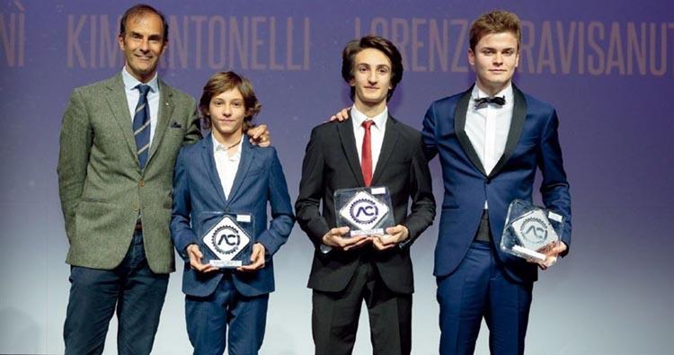 Premiati tre talenti italiani del karting ai Caschi d'Oro e Volanti ACI: Travisanutto, Minì e Antonelli
